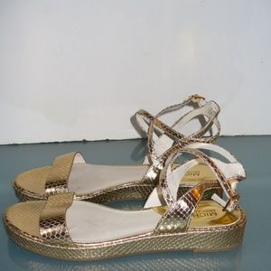 Michael Kors Strappy Gold Sandals Size 7.5 M